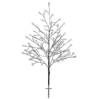 28 in. x 28 in. x 55 in. Frosty Christmas Snowflake Tree with Cool White LED Lights, Indoor and Outdoor