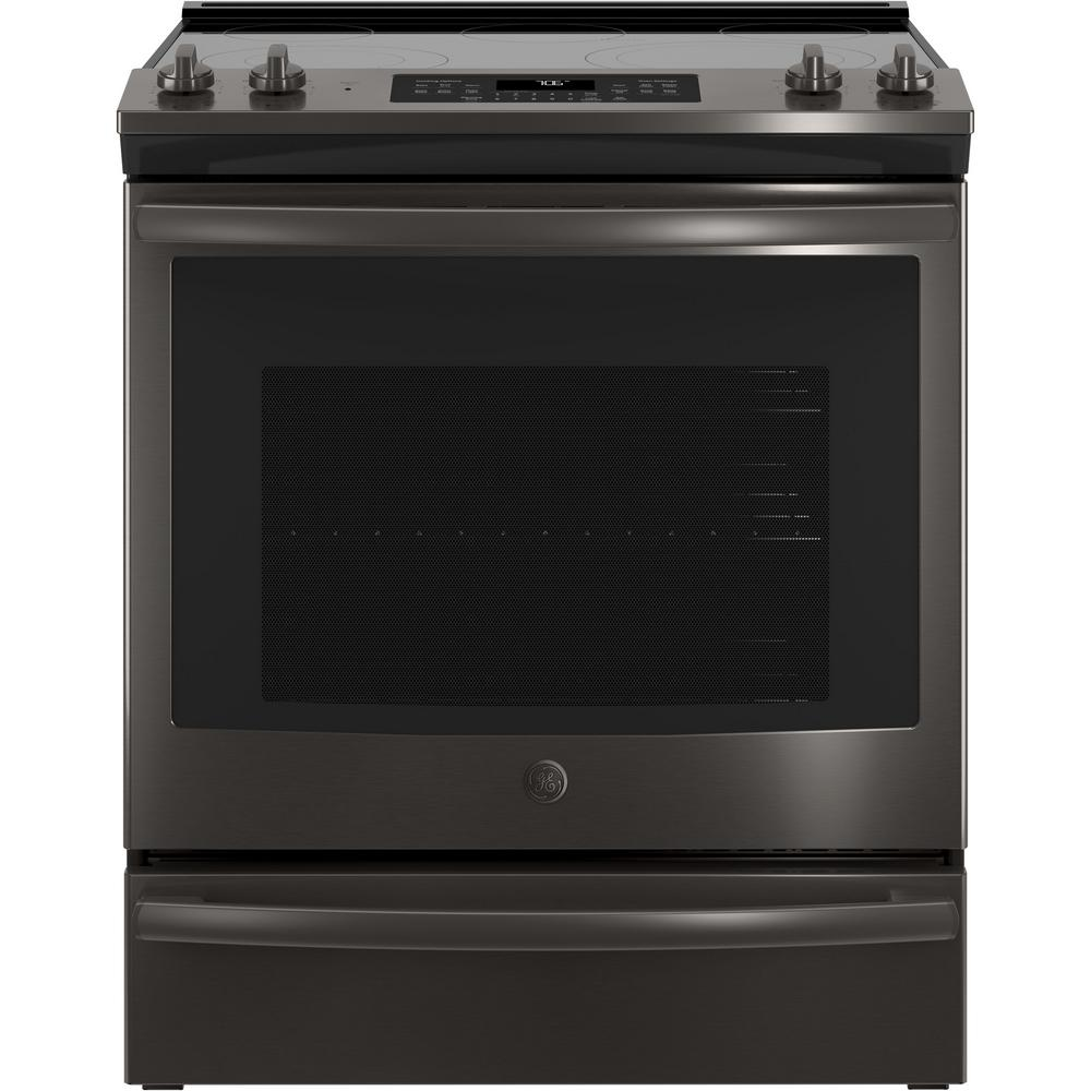 Ge 5 3 Cu Ft Slide In Electric Range With Self Cleaning Convection Oven Black Stainless Steel Fingerprint Resistant Js760blts The Home Depot