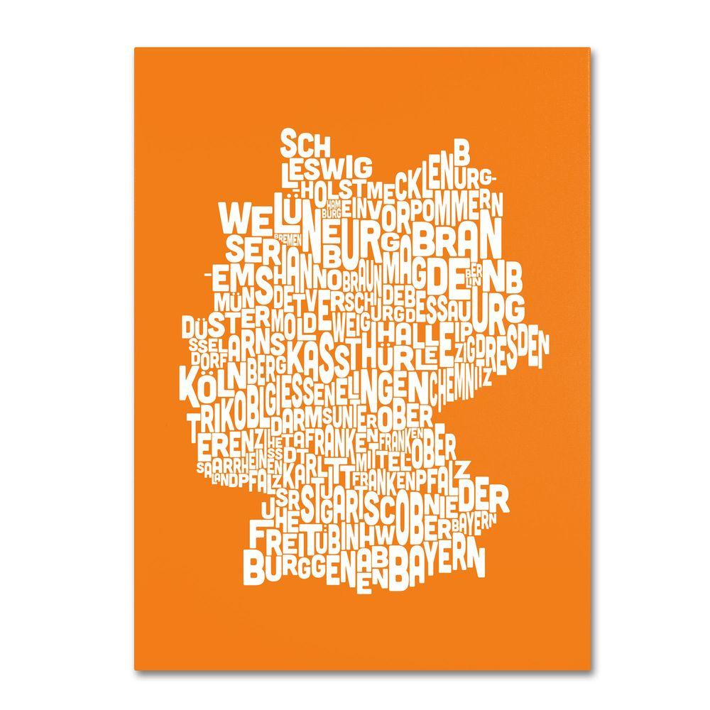 16 in. x 24 in. Germany Regions Map - Orange Canvas
