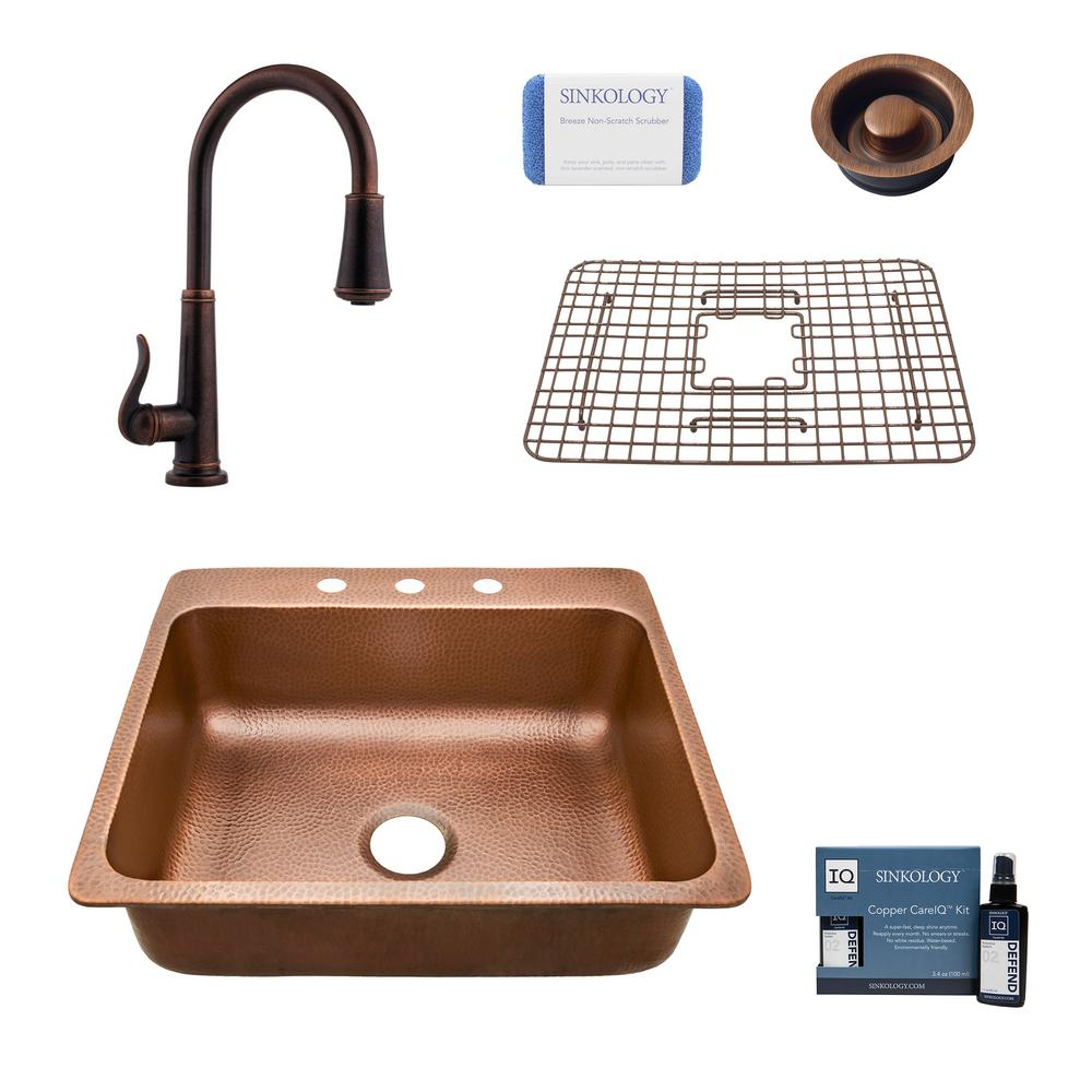 SINKOLOGY Rosa All-in-One Drop-In Copper 25 in. 3-Hole Single Bowl Kitchen Sink with Pfister Ashfield Faucet and Disposal Drain