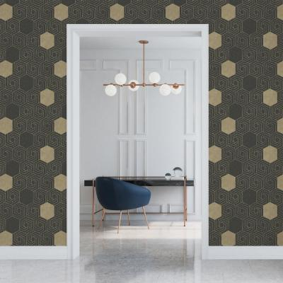 Momentum Dark Brown Geometric Wallpaper
