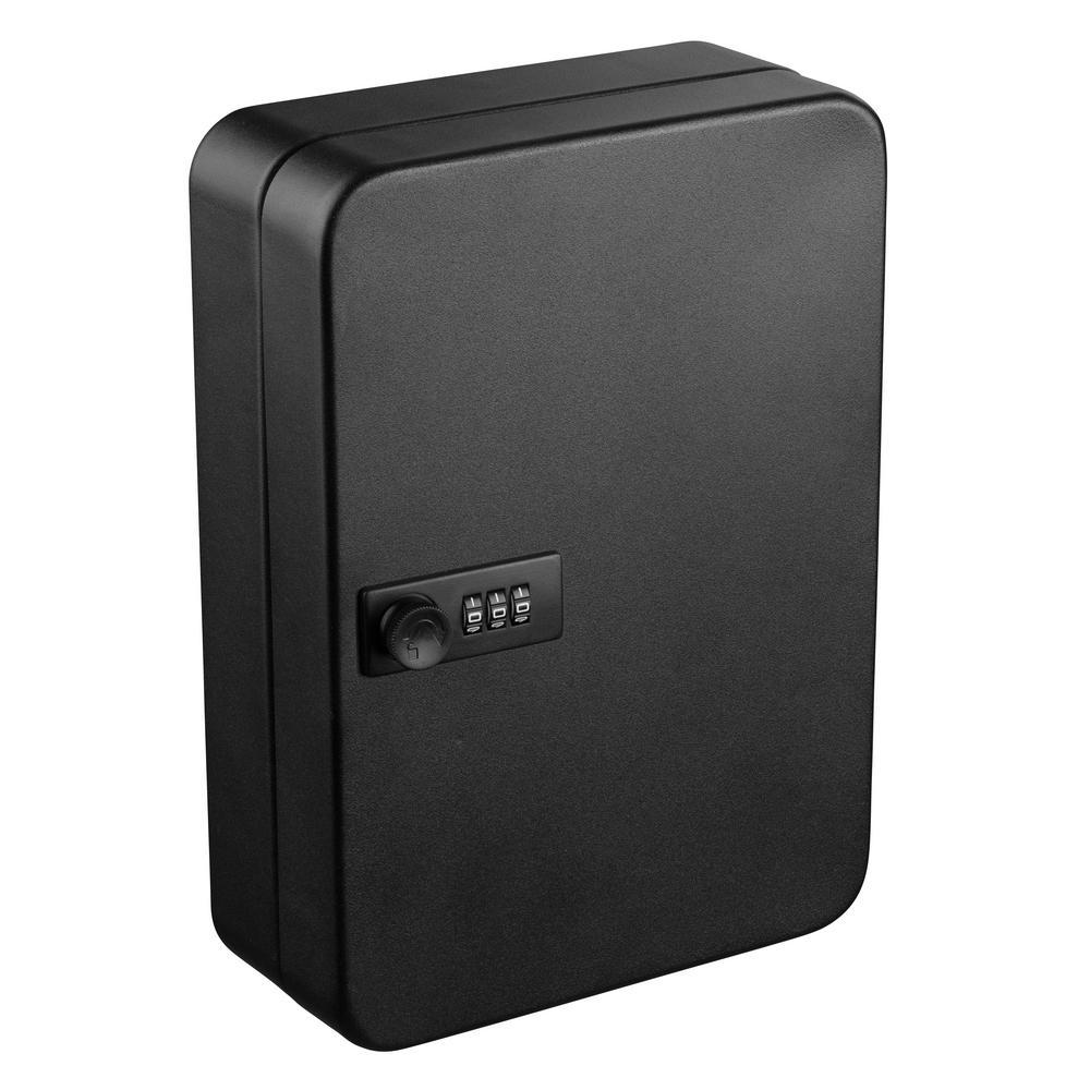 48-Key Steel Secure Key Cabinet with Combination Lock, Black
