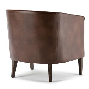 +4. Simpli Home Mitchum Distressed Brown Bonded Leather Arm Chair