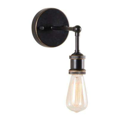 Miserite 1-Light Antique Black Gold and Copper Wall Lamp