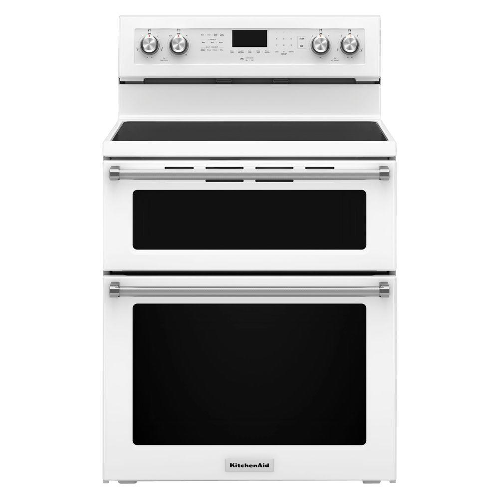 Kitchenaid 6 7 Cu Ft Double Oven Electric Range With Self Cleaning Convection Oven In White