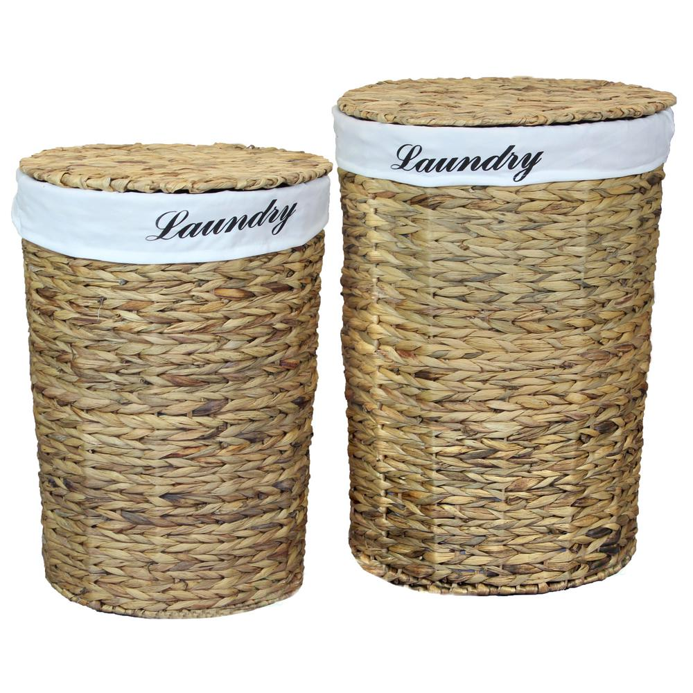 Vintiquewise Natural Water Hyacinth Round Laundry Hamper With Removable Linen Liner And Lid Set Of