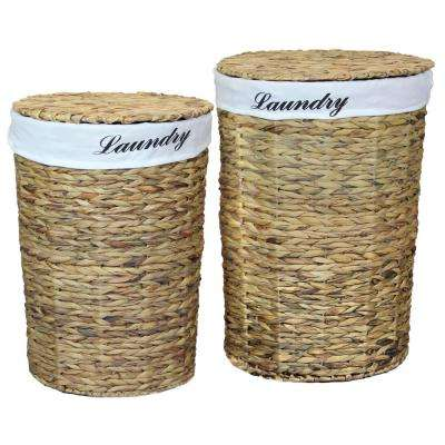 Natural Water Hyacinth Round Laundry Hamper with Removable Linen Liner and Lid (Set of 2)
