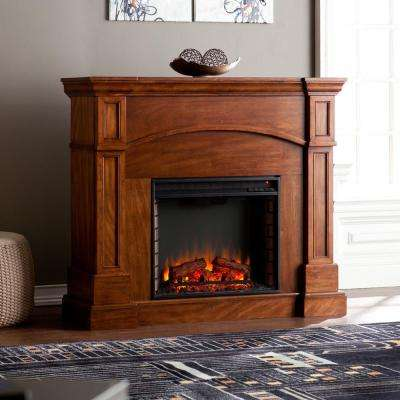 White Plains 45 in. Freestanding Electric Fireplace in Oak Saddle