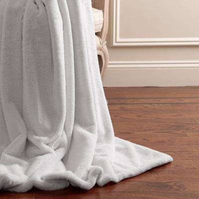 Luxe Faux Fur 84 in. L Grey Throw