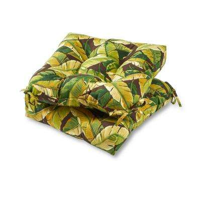 Palm Leaves Green Square Tufted Outdoor Seat Cushion (2-Set)