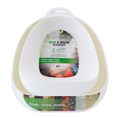 Rice and Grain Colander with Convenient Hood 2-Sizes in White