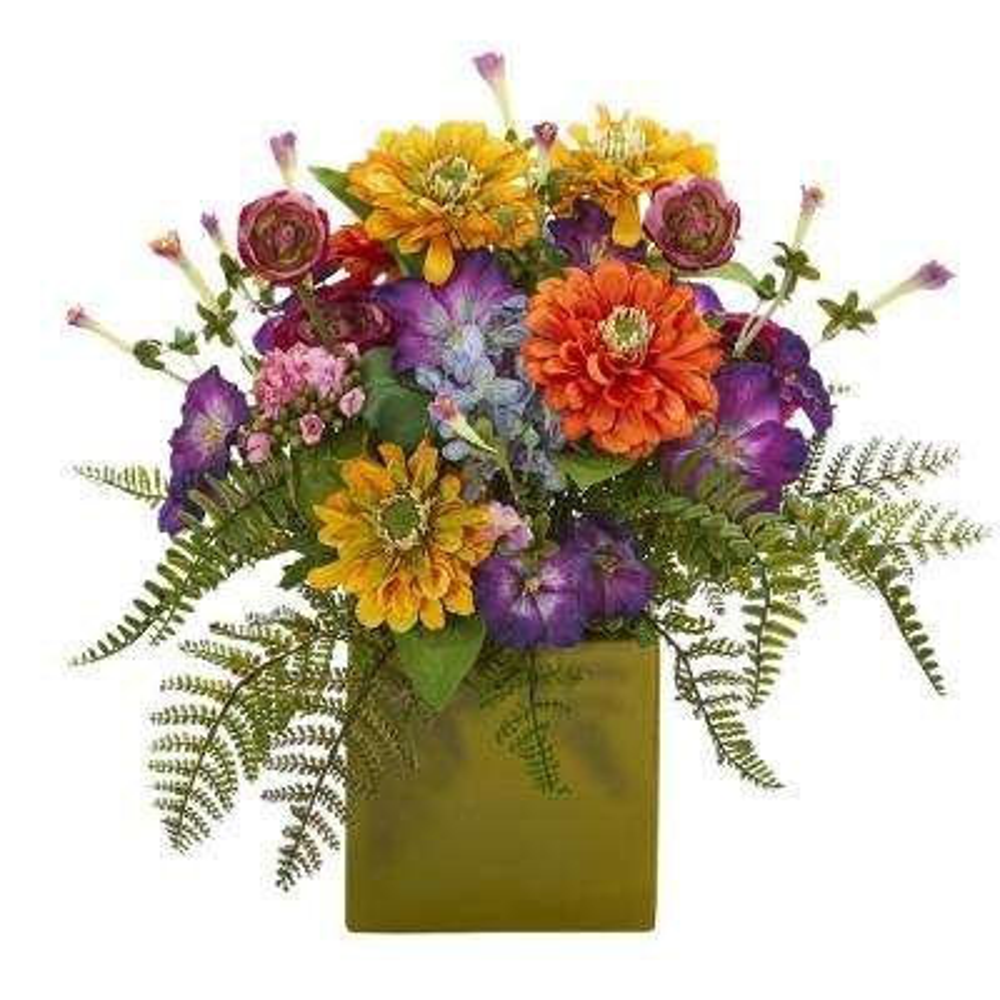 Indoor Mixed Floral Artificial Arrangement in Green Vase