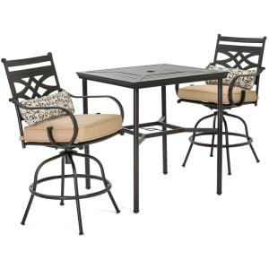 Montclair 3 Piece Metal Outdoor Bar Height Dining Set With Country Cork  Cushions, Swivel