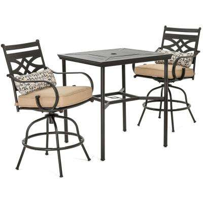 Montclair 3-Piece Metal Outdoor Bar Height Dining Set with Country Cork Cushions, Swivel Rockers and Table