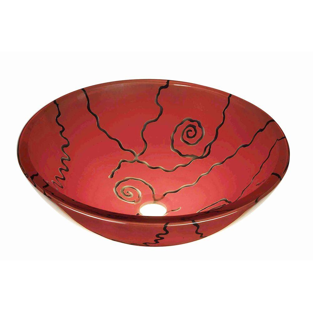Hembry Creek Tempered-Glass Vessel Sink in Red Spiral