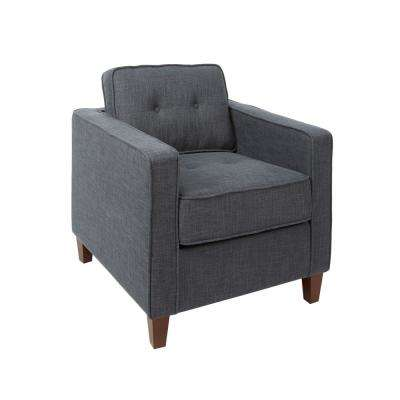 Schuler Dark Grey Square Arm Tufted Upholstered Club Chair