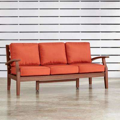Verdon Gorge Brown 1-Piece Oiled Wood Outdoor Sofa with Red Cushions