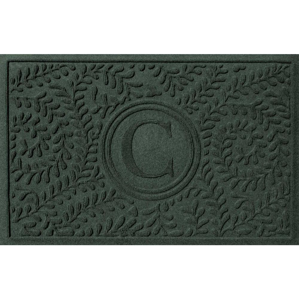 Boxwood Evergreen 24 in. x 36 in. Monogram C Door Mat