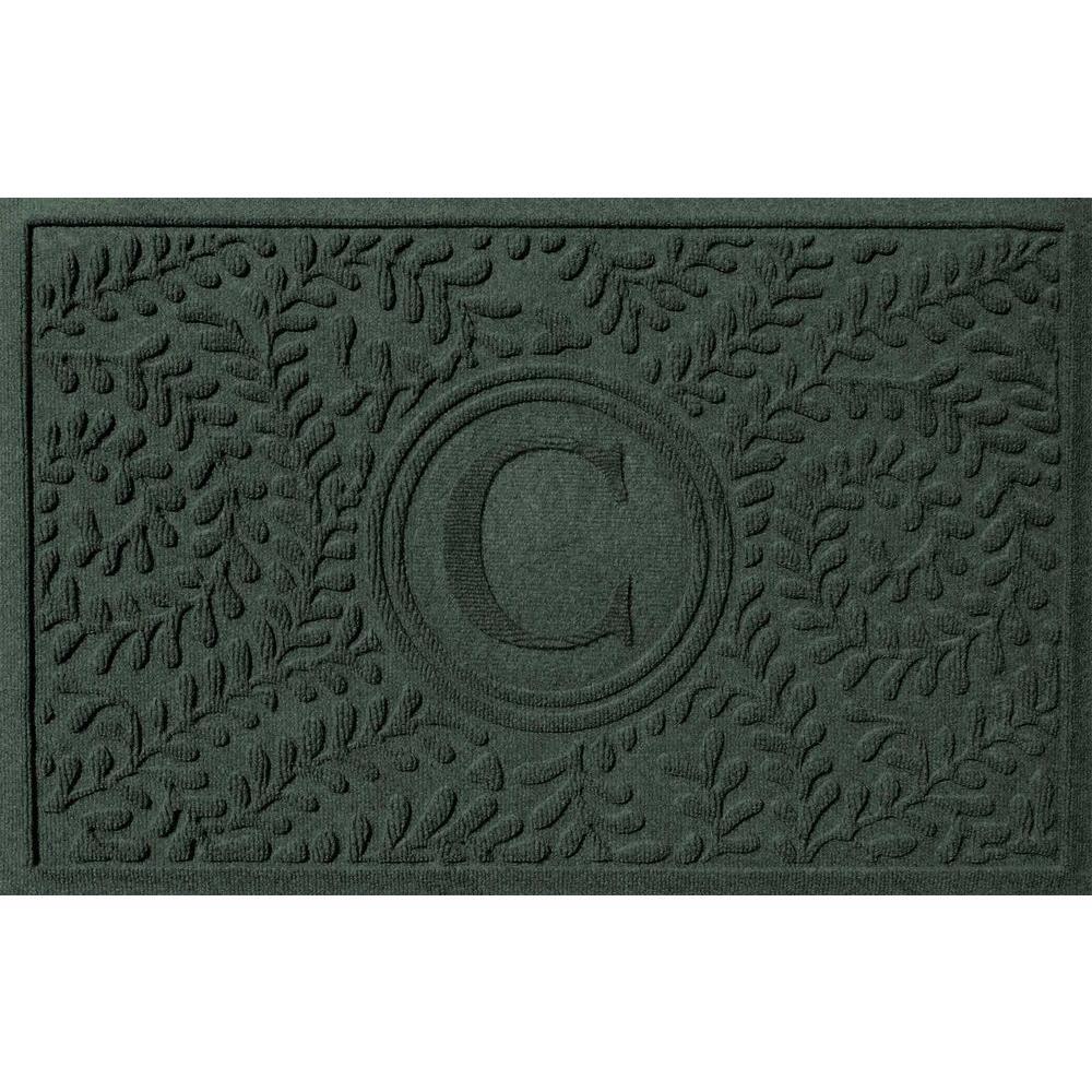 Boxwood Evergreen 24 in. x 36 in. Monogram C Door Mat