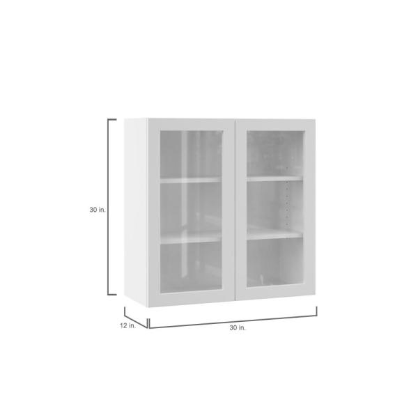 Hampton Bay Designer Series Edgeley Assembled 30x30x12 In Wall Kitchen Cabinet With Glass Doors In White Wgd3030 Edwh The Home Depot