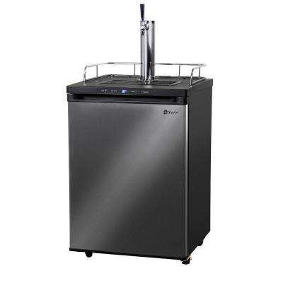 Full Size Digital Beer Keg Dispenser with Single Tap and Black Stainless Steel Door