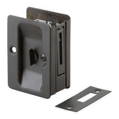 3-7/32 in. Oil-Rubbed Bronze Pocket Door Pull with Privacy Lock