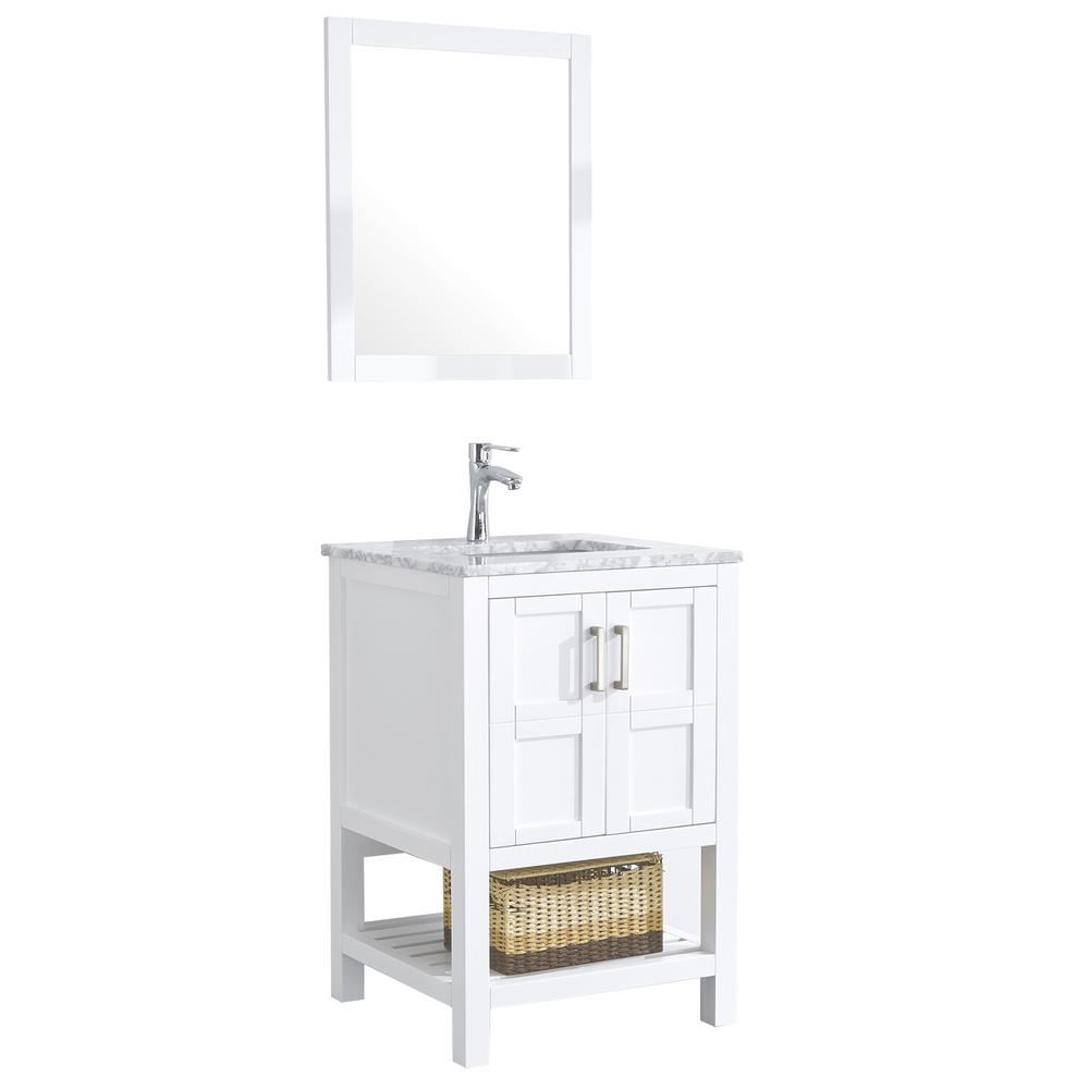 Eisen Home Sophia 24 In Bathroom Vanity In White With Marble Vanity Top In Cararra White With White Ceramic Basin And Mirror