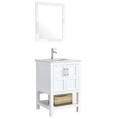Sophia 24 in. Bathroom Vanity in White with Marble Vanity Top in Cararra White with White Ceramic Basin and Mirror