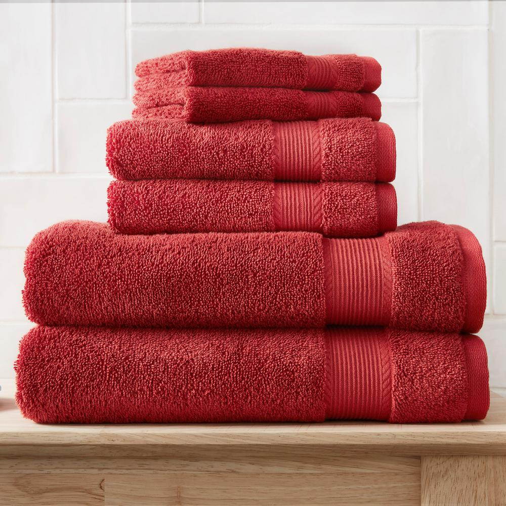 6-Piece Hygrocotton Towel Set in Chili
