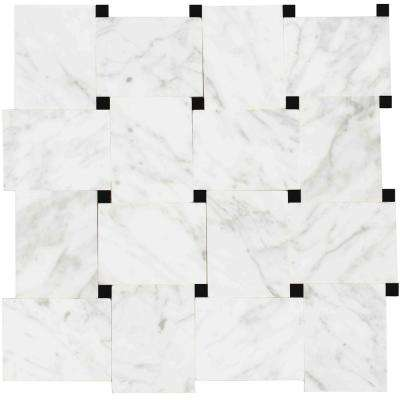 Carrera/White, White Marble, 4 in. x 4 in. x 8 mm Stone Floor and Wall Mesh-Mounted Tile Sample