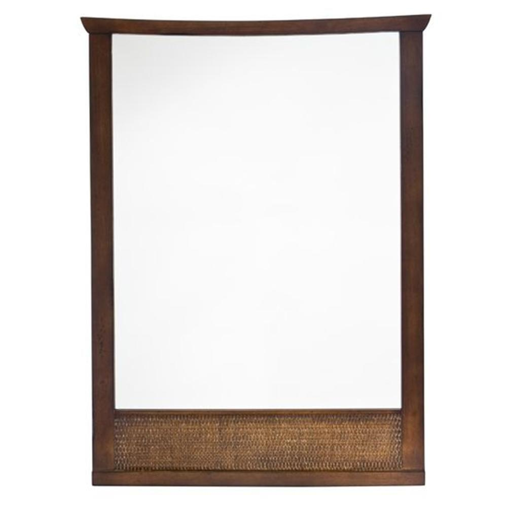 American Standard Tropic 31 in. x 23 in. Framed Wall Mirror in Nutmeg