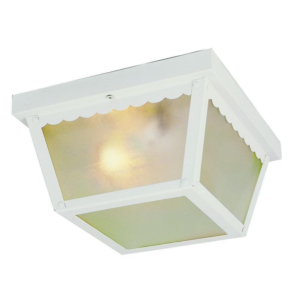 Stewart 1-Light Outdoor White Incandescent Ceiling Light