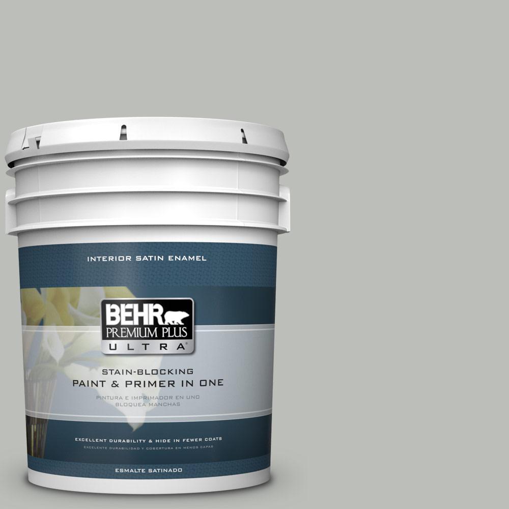 5 gal. #PPU24-17 Hailstorm Gray Satin Enamel Interior Paint