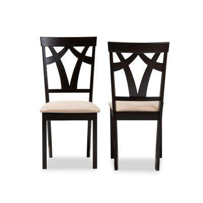 Sylvia Sand and Espresso Brown Fabric Dining Chair (Set of 2)