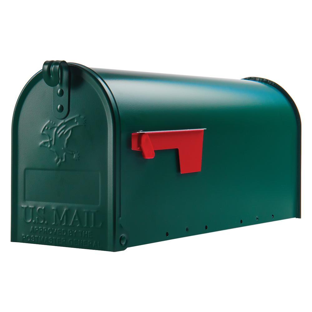 Elite Medium, Steel, Post Mount Mailbox, Green