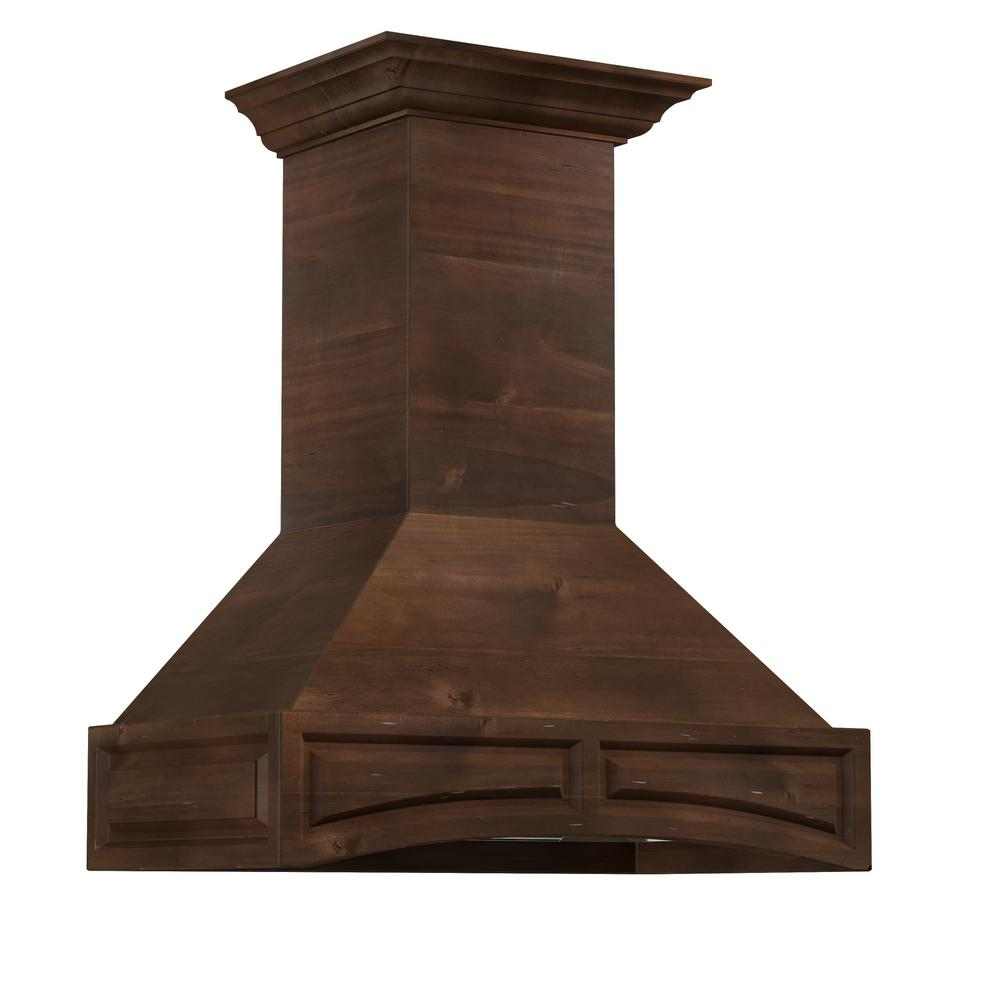 Zline Kitchen And Bath 30 In Wooden Wall Mount Range Hood Walnut Includes