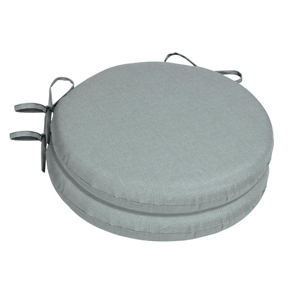 Home Decorators Collection 15 X 15 Sunbrella Cast Mist Round Outdoor Chair Cushion 2 Pack