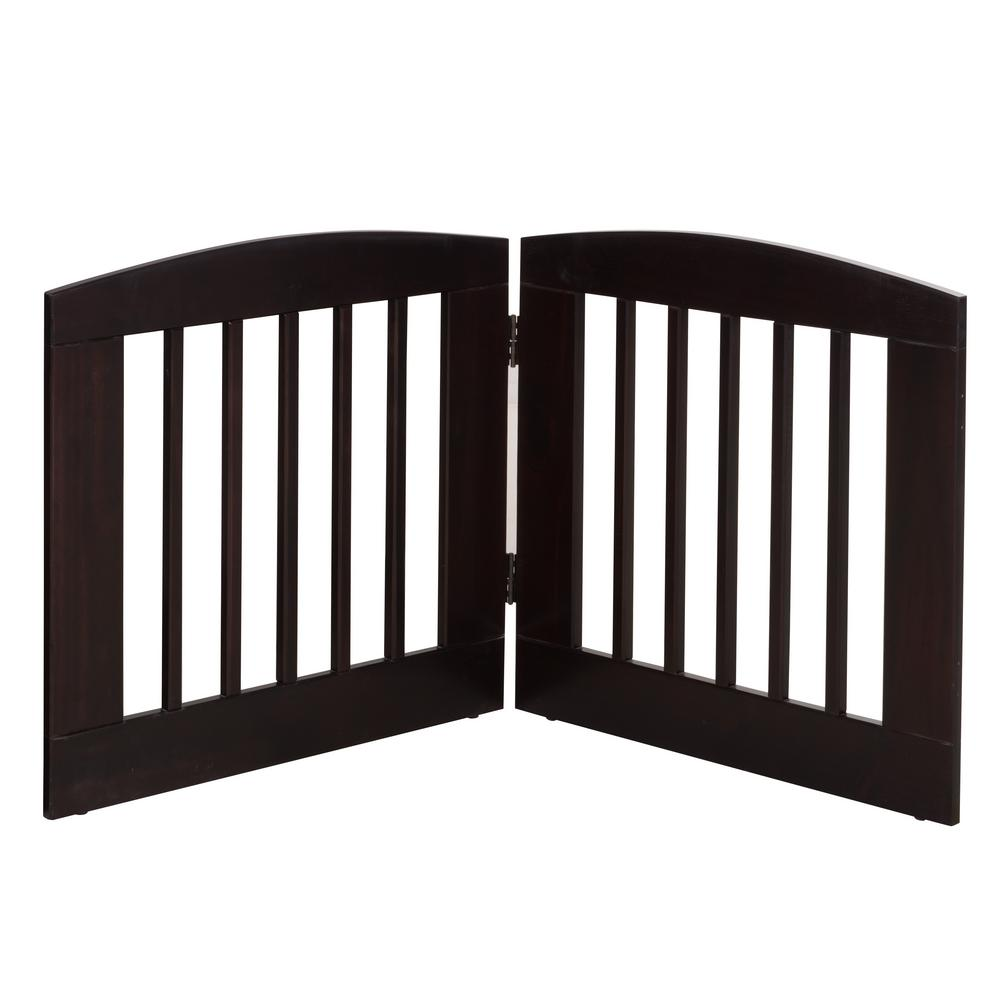 Ruffluv 24 in. H Wood 2-Panel Expansion Cappuccino Pet Gate