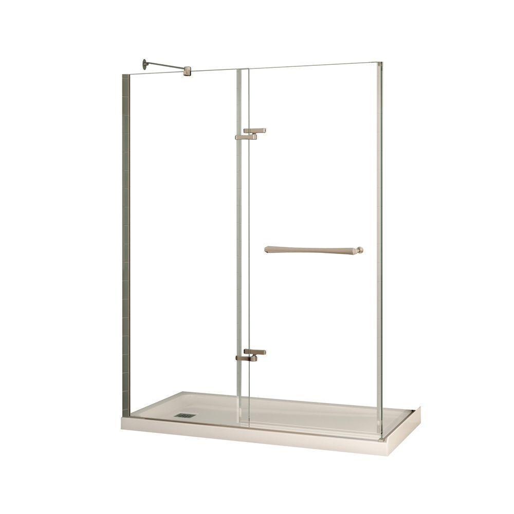 MAAX Reveal 32 in. x 60 in. x 74-1/2 in. Alcove Standard Shower Kit in Chrome with Base in White - Left Drain