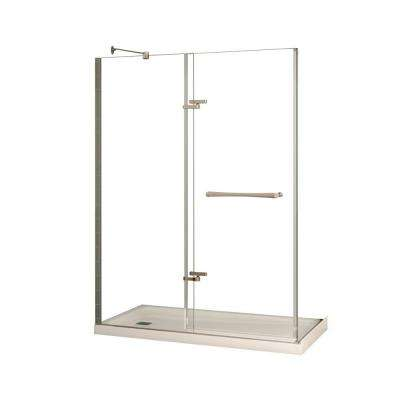 Reveal 32 in. x 60 in. x 74-1/2 in. Alcove Standard Shower Kit in Chrome with Base in White - Left Drain
