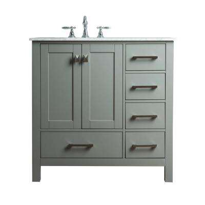 Malibu 36 in. W x 22 in. D Vanity in Grey with Marble Vanity Top in Carrara White with White Basin