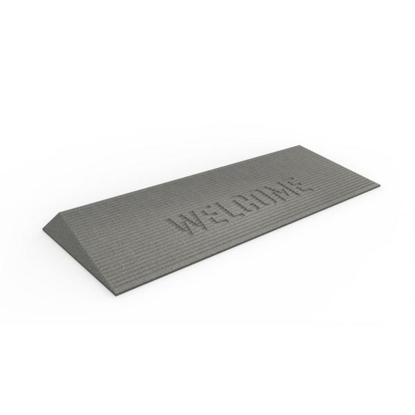 TRANSITIONS Gray 40 in. W x 14 in. L x 1.5 in. H Rubber Angled Entry Door Threshold Welcome Mat
