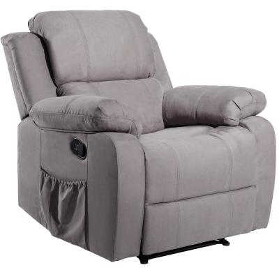 Gray PU Heating Massage Recliner with 8-Vibration Motors