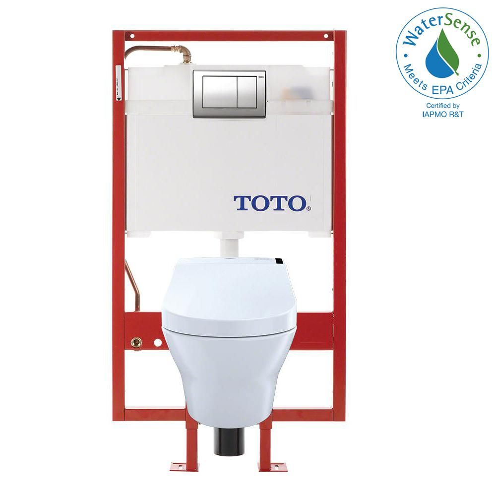 TOTO MH Wall-Hung 2-Piece 0.9/1.2 8 GPF Dual Flush Elongated Toilet with Copper Supply and 200 Wash let in Cotton White