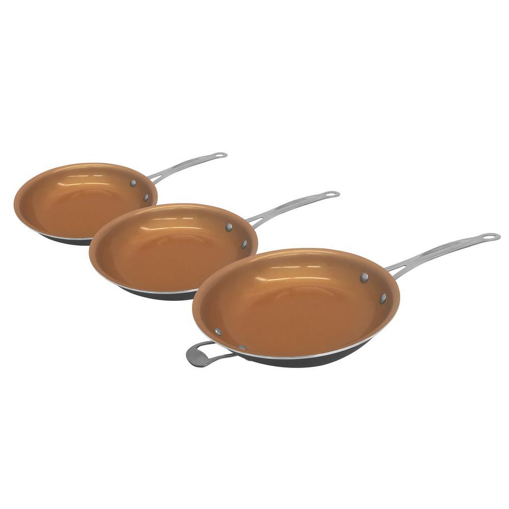3 Piece Non-Stick Ti-Ceramic Round Fry Pan Set