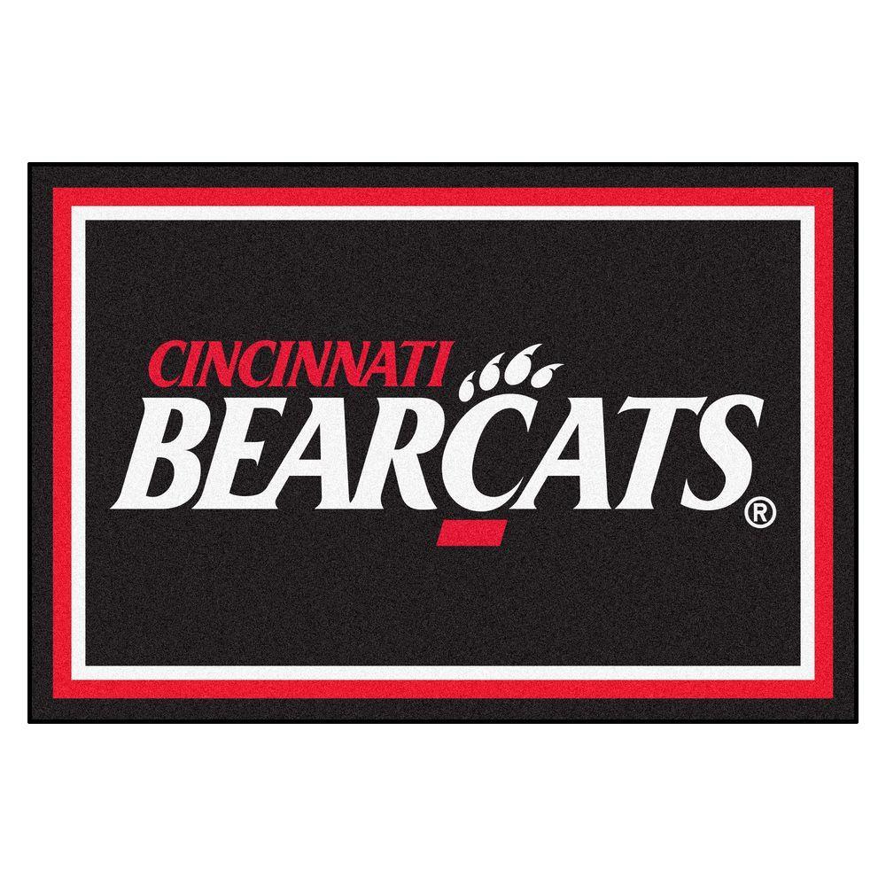 NCAA University of Cincinnati Bearcats Logo Black 5 ft. x 8 ft. Indoor Area Rug