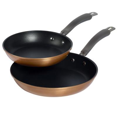 Translucent 2-Piece Hard-Anodized Aluminum Nonstick Frying Pan Set in Copper