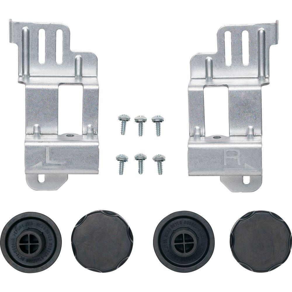 GE 24 in. Washer/Dryer Stack Bracket Kit Stack Kits are metal brackets used with front-load laundry pairs to stack the dryer on top of the washer. One of the convenient features of many new front-loading machines is that they are often stack able. When using a stack kit, the dryer must be placed on top because it typically weighs much less than the washer.