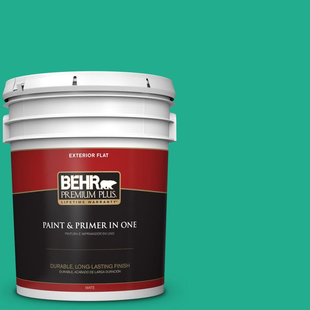 BEHR Premium Plus 5-gal. #480B-5 Mermaid Song Flat Exterior Paint