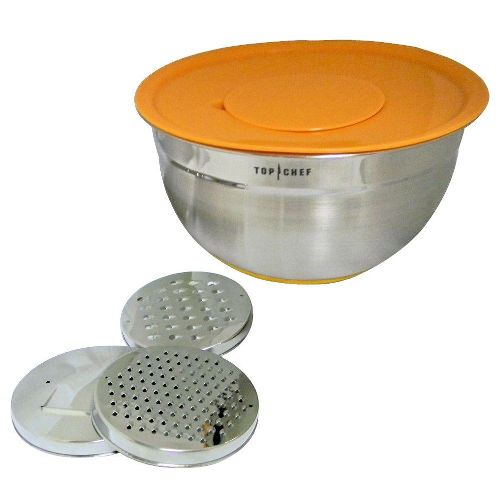 null SS 5 qt. Mixing Bowl with Silicone Base, 2 Graters, Slicer and Lid-DISCONTINUED